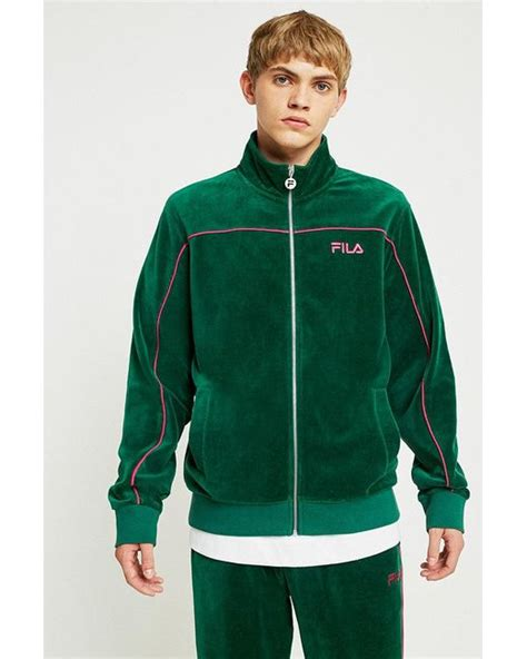Fila Johnson Forest And Pink Velour Tracksuit Top in Green