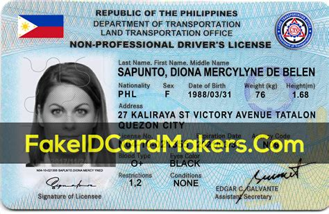 Philippines Drivers License Template PSD Fake Editable