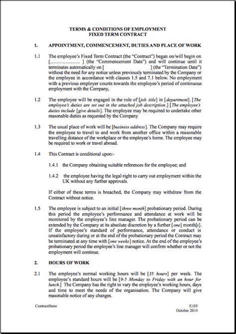 Template For Employment Contract – printable schedule template